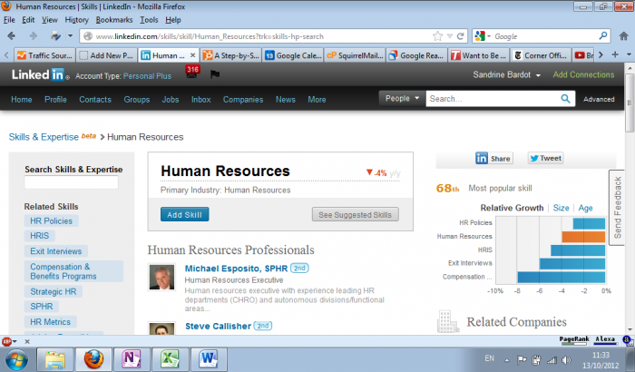 Human Resources - Skills page on LinkedIn