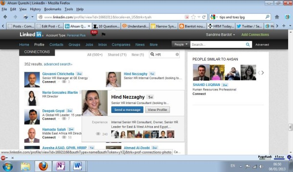 Keyword search results in the connections of your LinkedIn contacts