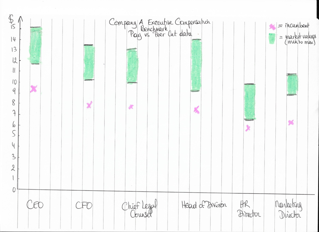 How the executives' salaries were looking vs the peer cut