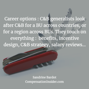 C&B generalists touch on ll aspects of Compensation & Benefits across countries and/or BUs.