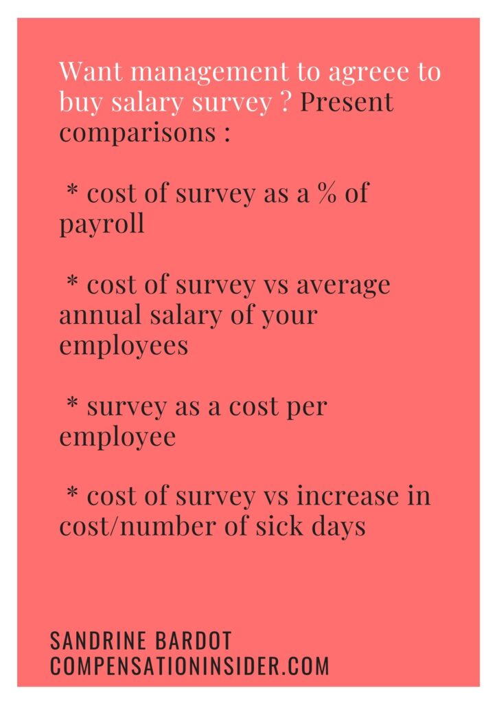 Different ways to put the cost of participating to a salary survey into perspective