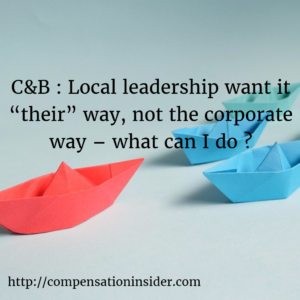 "C&B Local leadership want it ""their"" way, not the corporate way – what can I do"
