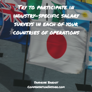 Try to participate in industry-specific surveys in each of your countries of operations