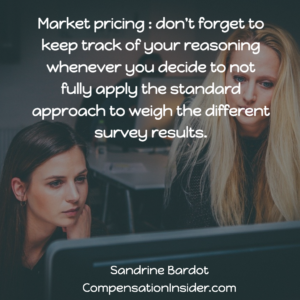 Keep track of your reasoning when you change the standard weigh of surveys for a specific role